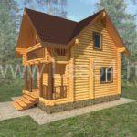 Дачный домик из оцилиндрованного бревна диаметром 220 мм