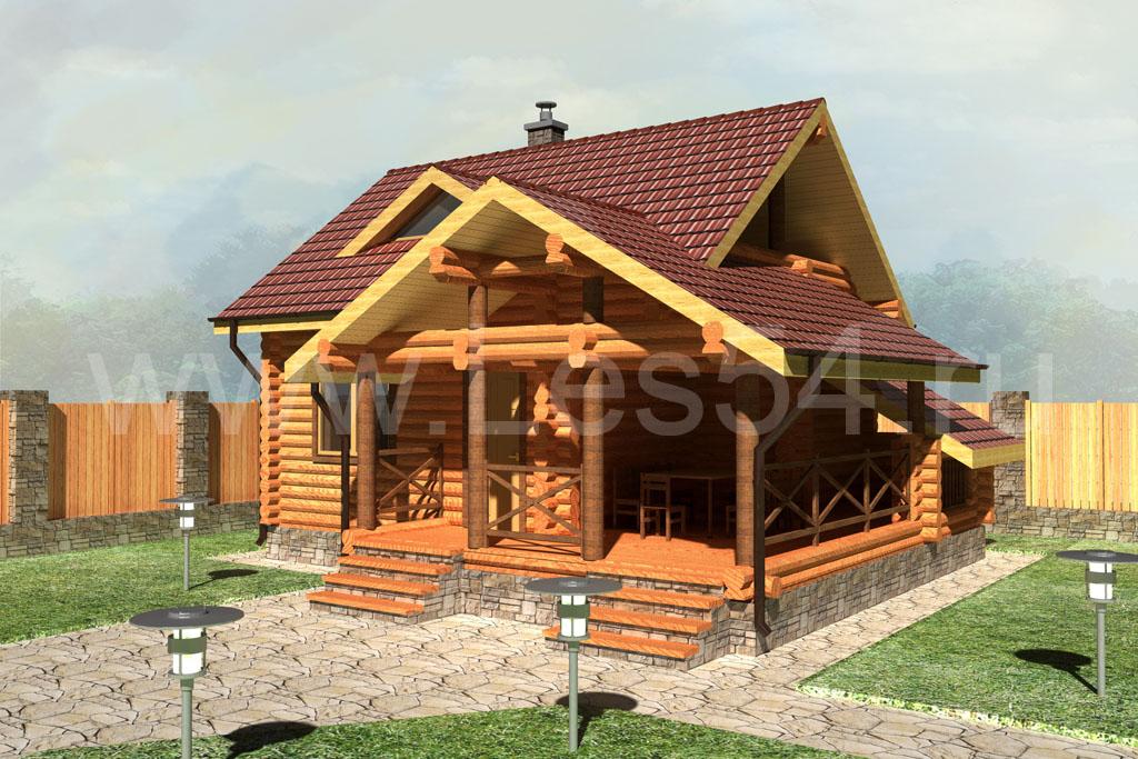 Баня с террасой и балконом из оцилиндрованного бревна д. 220 мм