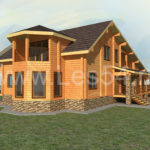 Жилой дом из профилированного бруса сечением 190х190 мм (кедр)