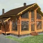 Загородный дом в стиле шале из оцилиндрованного бревна д. 240 мм