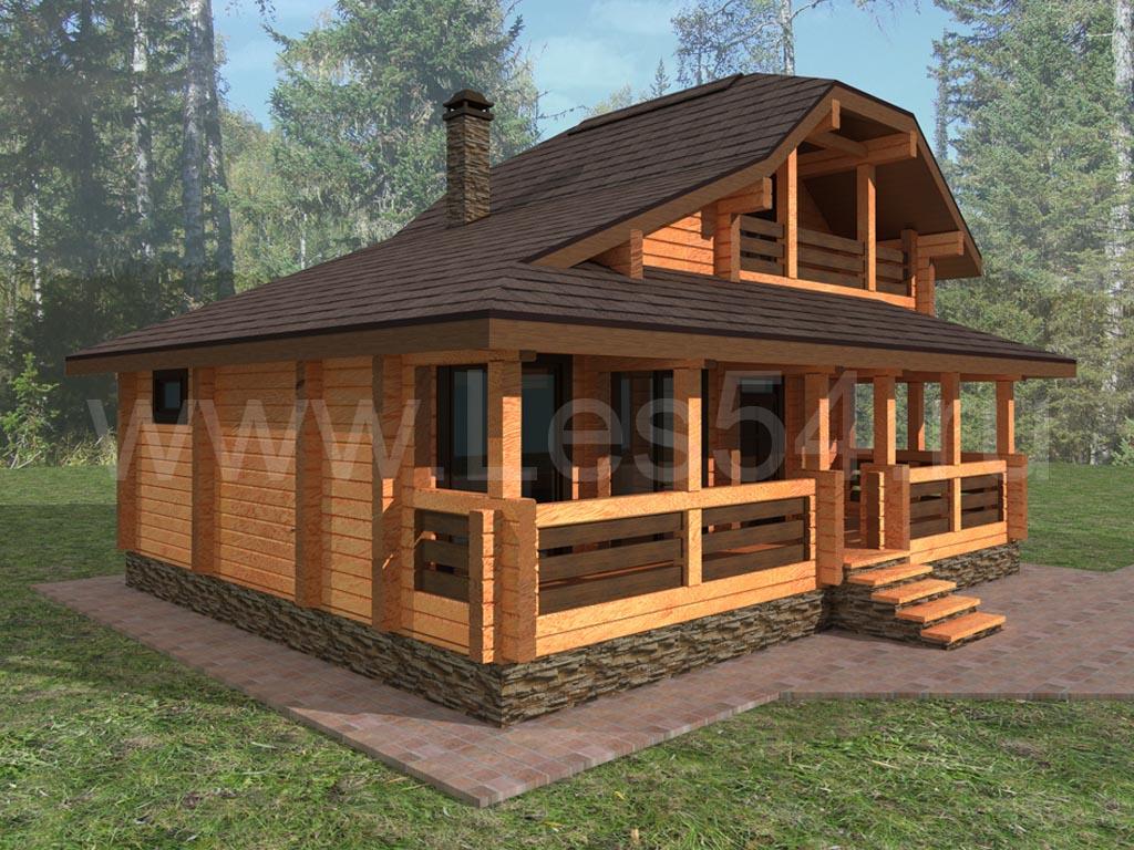 Дом-баня из профилированного бруса (кедр) сечением 190х190 мм