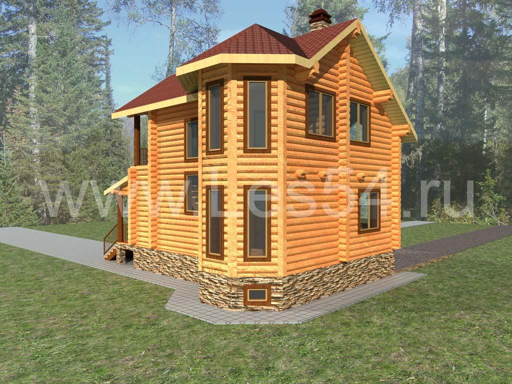 Загородный жилой дом из оцилиндрованного бревна д. 260 мм