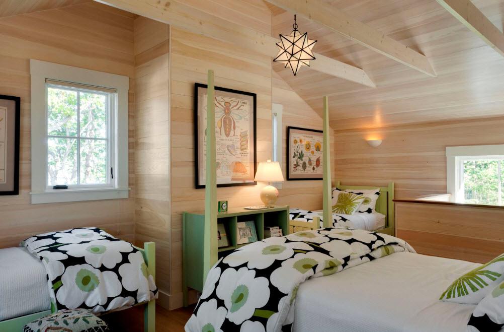 Оттенки в интерьере деревянного дома